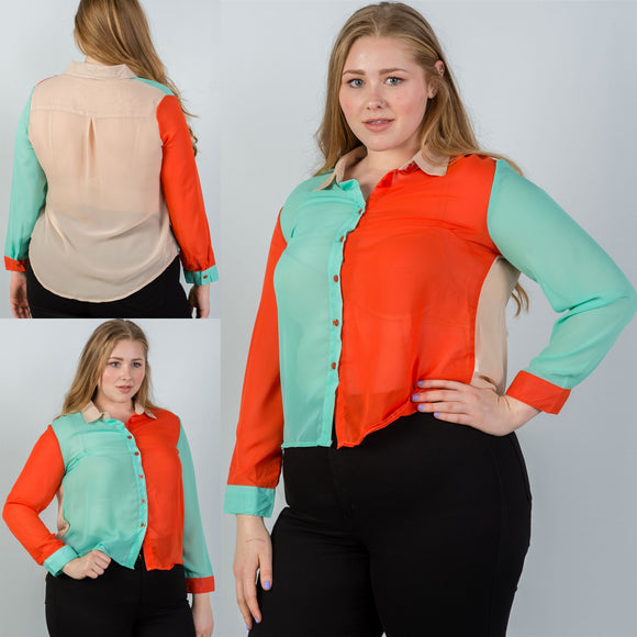 1x-3x Plus Size Semi Sheer Colorblocked Blouse Free Shipping