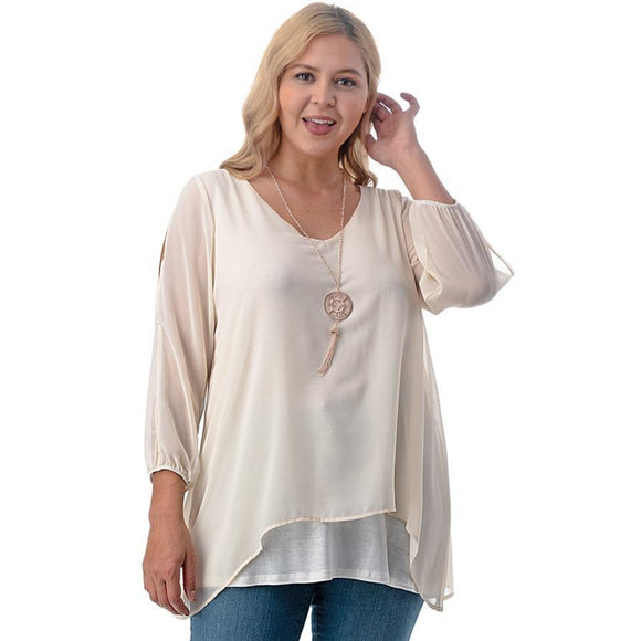 1x-6x Plus Size Super Cute sheer blouses - CREAM Free Shipping