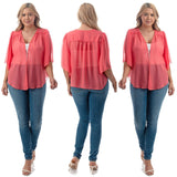 1x-6x Plus Size Super Cute open sheer bolero shrug - CORAL FREE SHIPPING