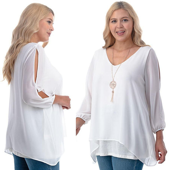 1x-6x Plus Size Super Cute sheer blouses - WHITE  Free Shipping