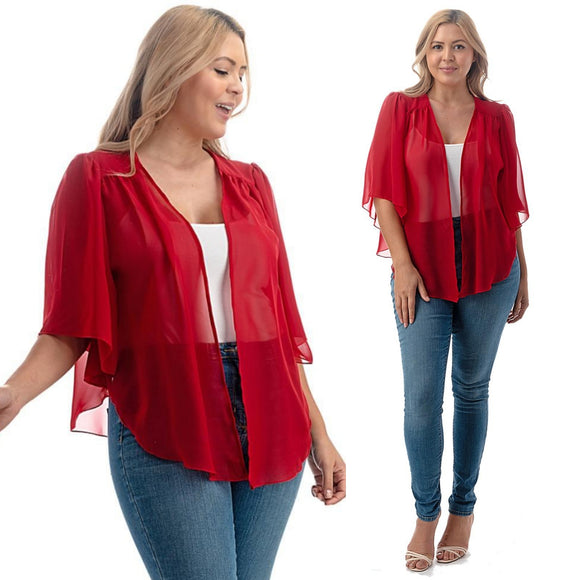 1x-6x Plus Size Super Cute open sheer bolero shrug - RED FREE SHIPPING