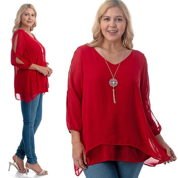 1x-6x Plus Size Super Cute sheer blouses - RED  Free Shipping
