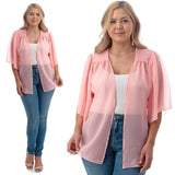 1x-6x Plus Size Super Cute open sheer bolero shrug - SALMON FREE SHIPPING