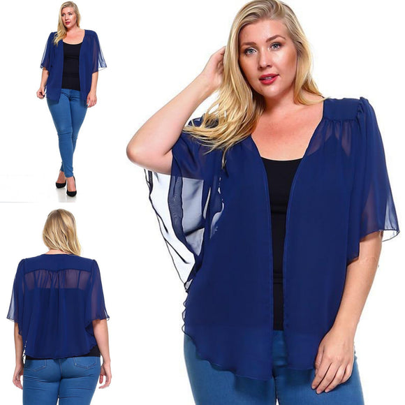 1x-6x Plus Size Super Cute open sheer bolero shrug - BLUE FREE SHIPPING