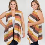 1x-3x Plus Size Striped Vest  FREE SHIPPING