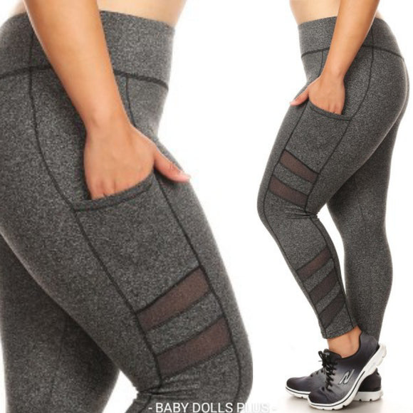 1x-3x Plus Size Sculpting Gray Leggings w/side Pockets -  FREE SHIPPING