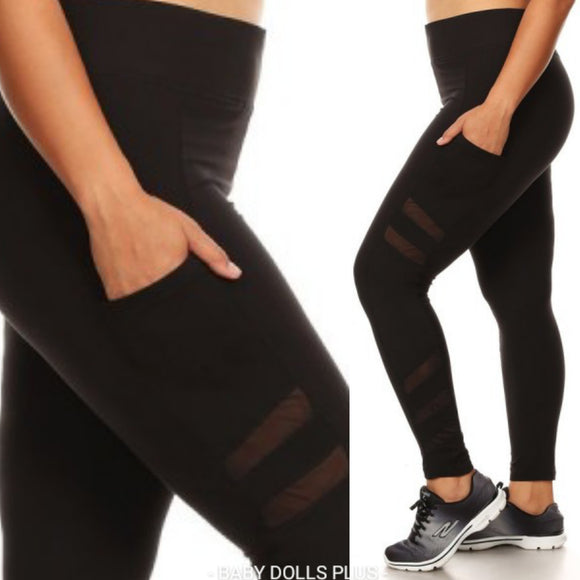 1x-3x Plus Size Sculpting Black Leggings w/side Pockets -  FREE SHIPPING