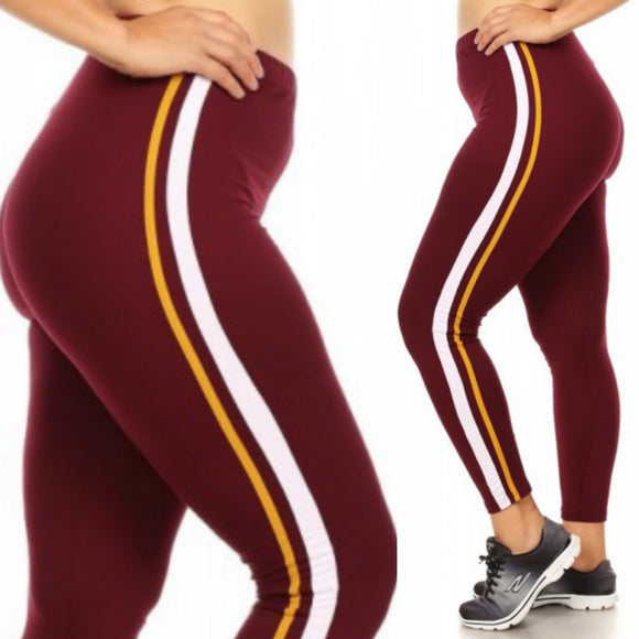1x-3x  Plus Size Burgundy Soft Brush Sports Leggings W/Side Contrast-  FREE SHIPPING