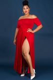 1x-3x Off Shoulder Slit Romper - Red Free US Shipping