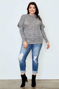 Plus Size Grey Ruffle Trim Long Sleeve Casual Sweatshirt