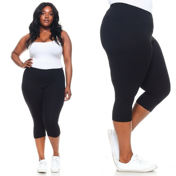 1x - 6x Plus Size Capri Black Leggings FREE SHIPPING