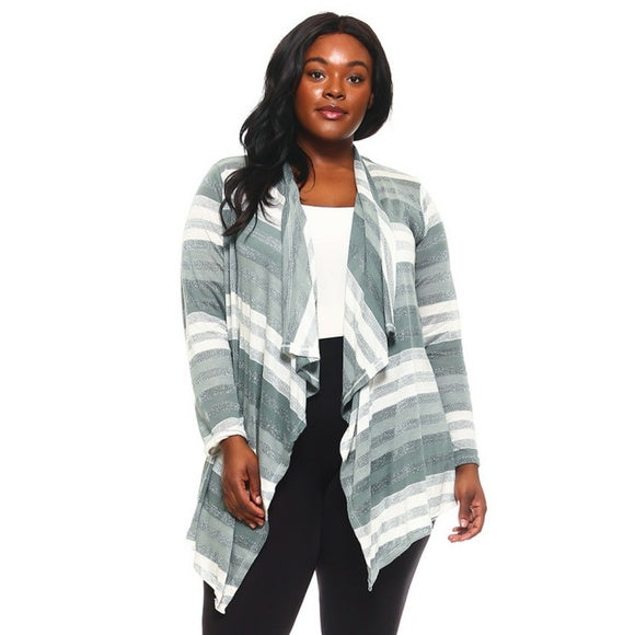 1x-6x Plus Size Long Striped Knit Cardigan