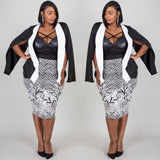 1x-3x Plus Size Color Block Slit Sleeve Blazer Free Shipping