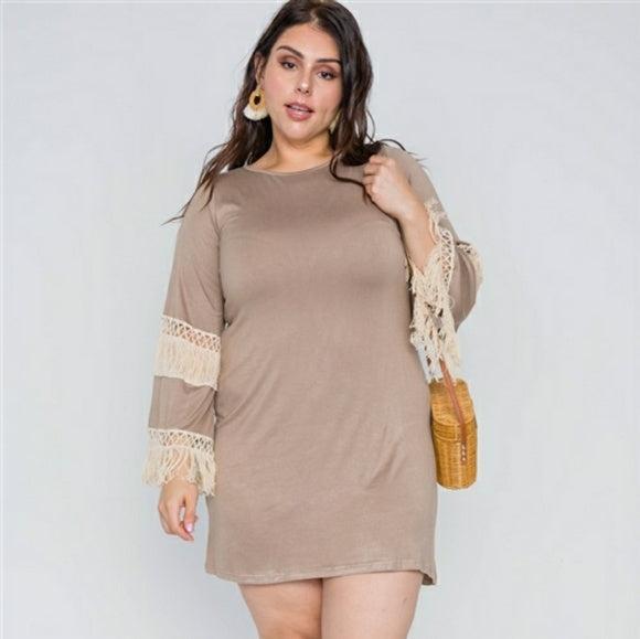 1x-3x Mocha Ivory Plus Size Crochet Dress Free Shipping