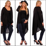 1x-3x Hacci Black Plus Size Cardigan Free Shipping