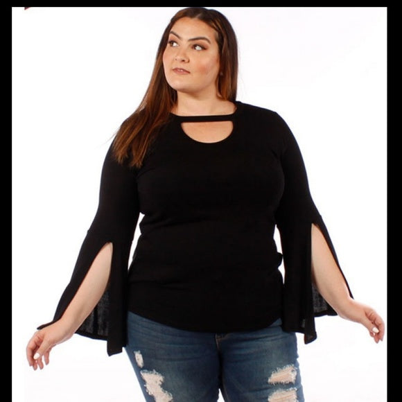 1x-3x New Plus Size Belle Sleeve Black Top  Free Shipping