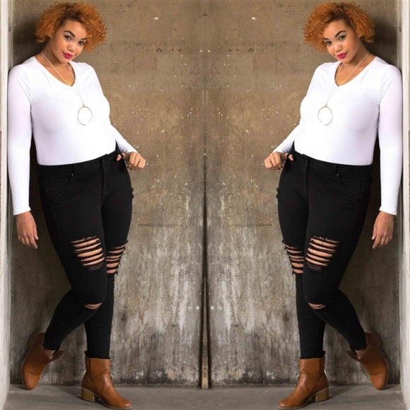 Plus Size 12-20 Cotton Spandex Black Plus Size Distressed Ripped Skinny Jeans  FREE SHIPPING