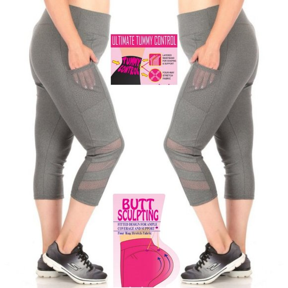 1x-3x Plus Size Gray Capri Sculpting Butt Lifting Leggings