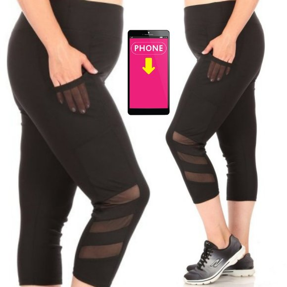 1x-3x Plus Size Black Capri Sculpting Butt Lifting Leggings