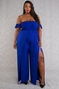 1x-3x Off Shoulder Slit Blue Jumpsuit Free US Shipping