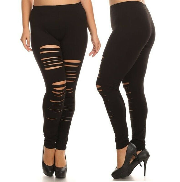 Women plus size high waist leggings cut out shredded slash ripped distressed