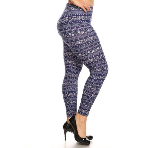 1x-4x Plus Size Blue Poly Brushed Leggings Free Shipping