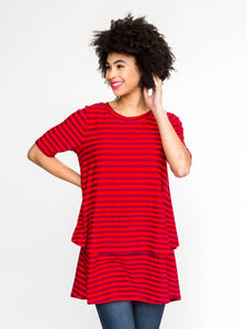 dark Red Stripes Tiered Tunic