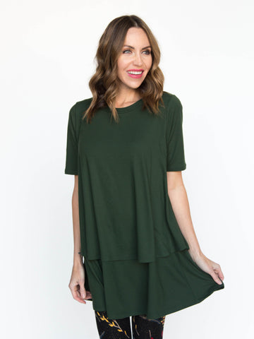 Evergreen Half Sleeve Tiered Tunic