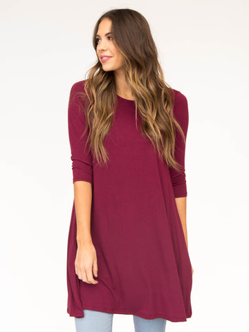 1/2 Sleeve Swing Tunic Burgundy