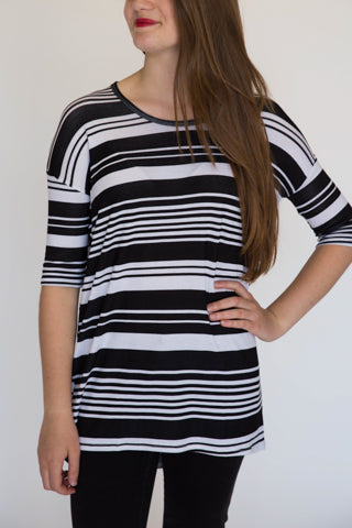 Black/White Stripe Hi-Lo Tee