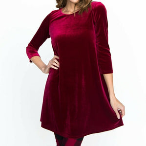 Burgundy Velvet Swing Tunic
