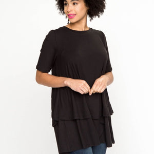 Black Baby Suede Tiered Tunic