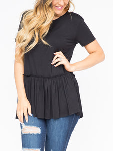 Relaxed Ruffle Tee Black