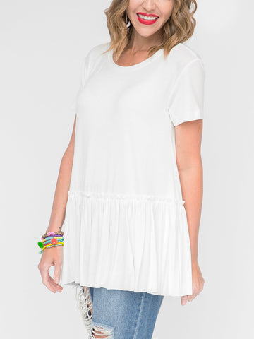 Relaxed Ruffle Tee Cream