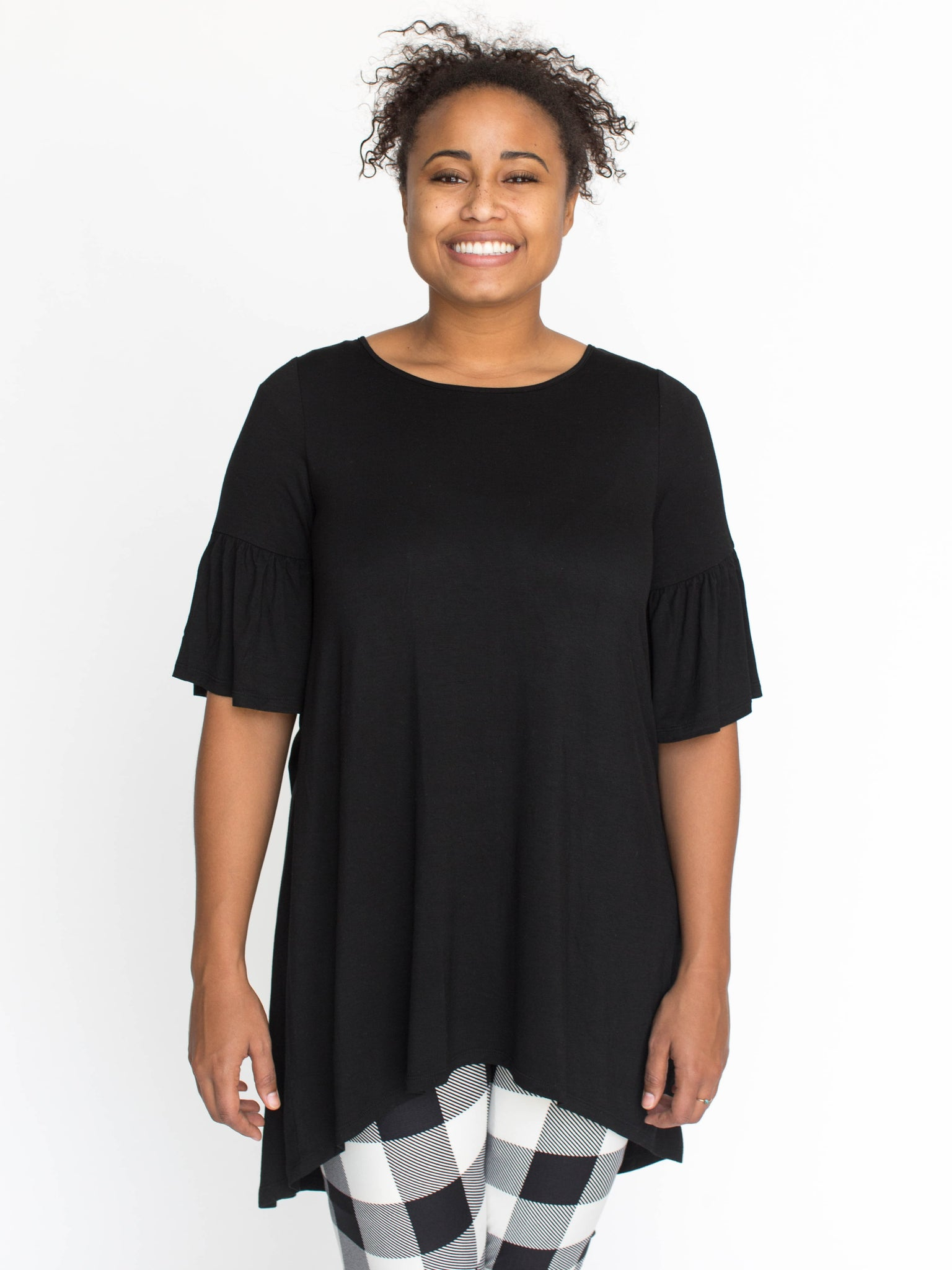 Ruffle Sleeve Tunic Black