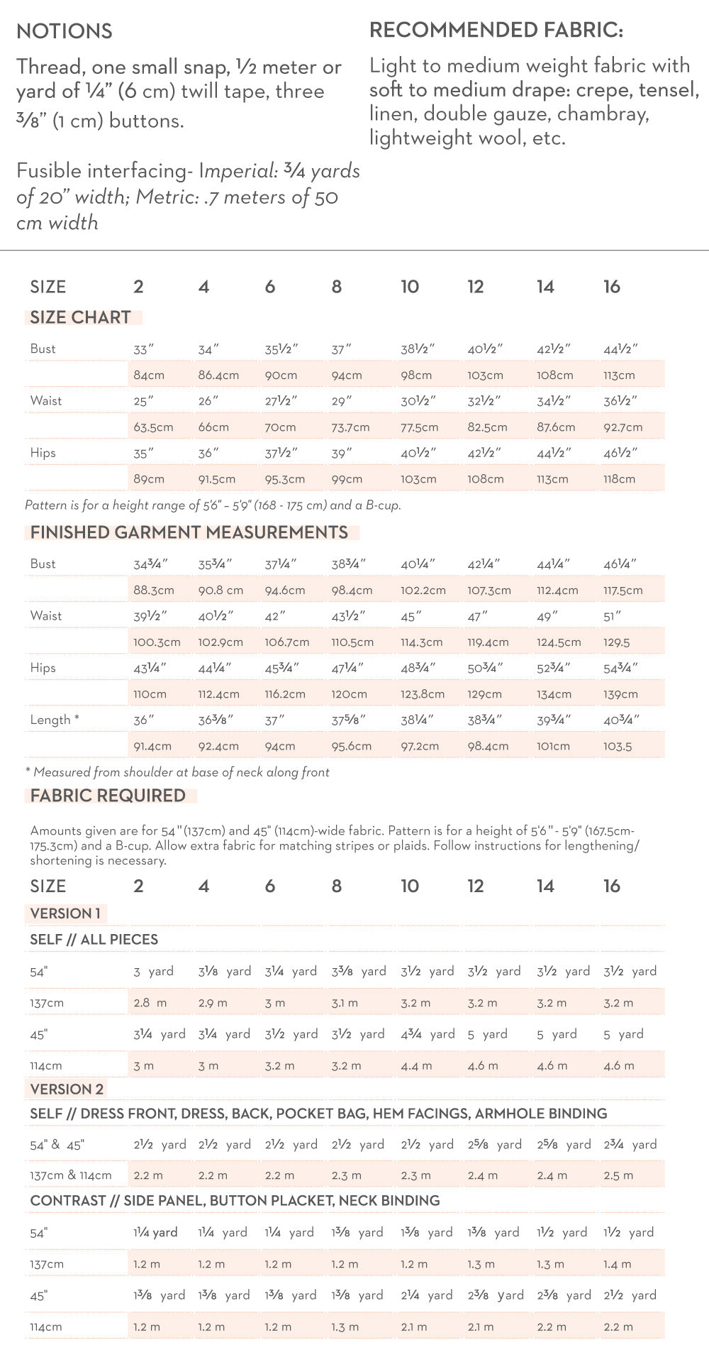 Hannah Size and Fabric Quantity Charts