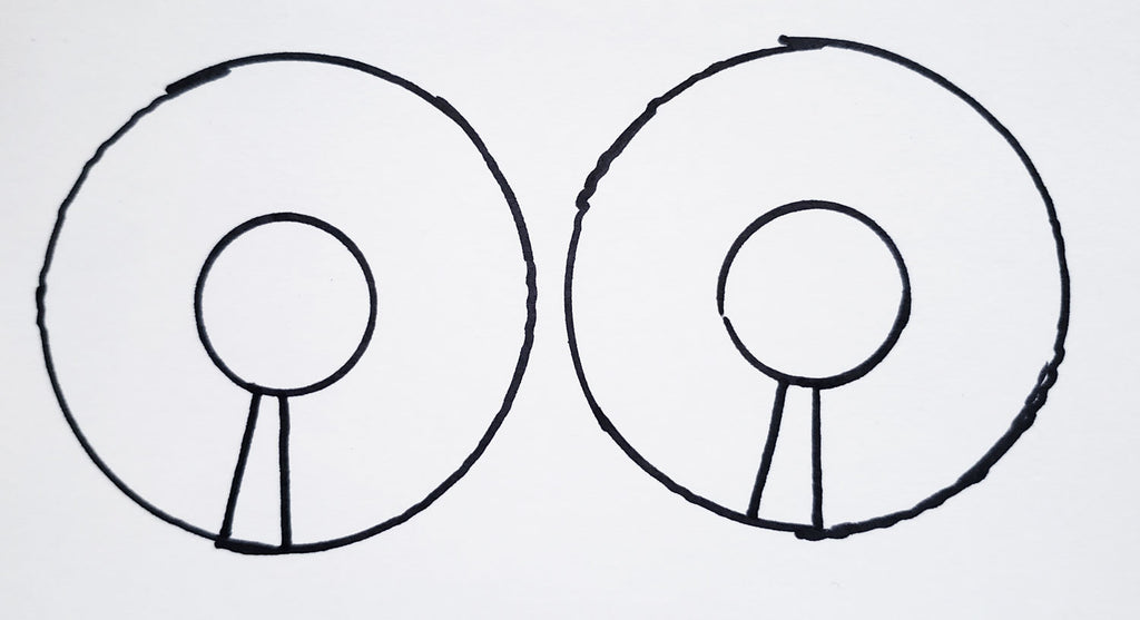 Two lines drawn from the center cirle to the outer circle