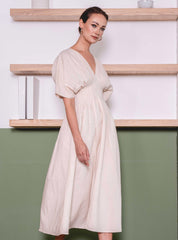 nia dress in nude hanya linen dress