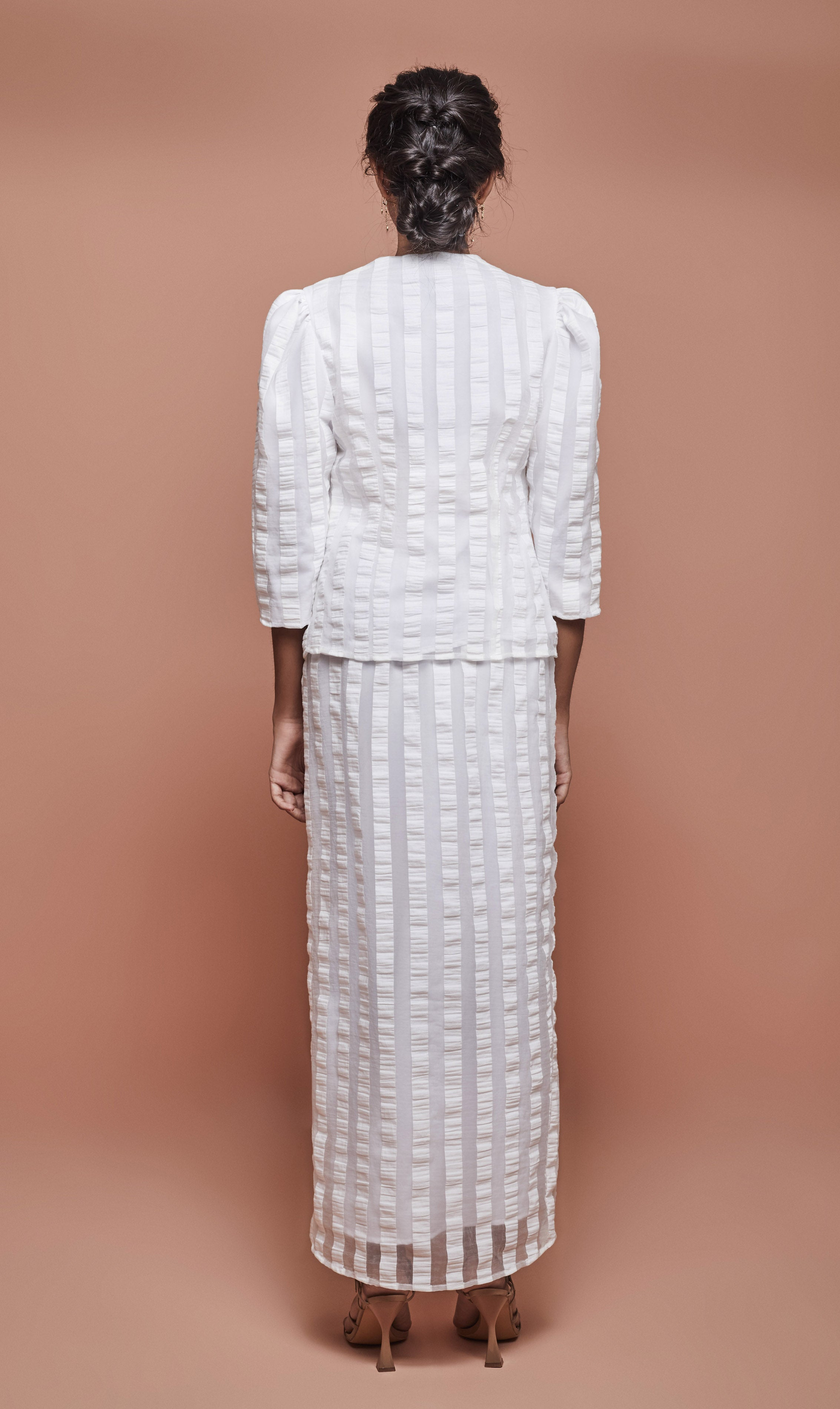 Jul Puffy Kebaya in White Stripe