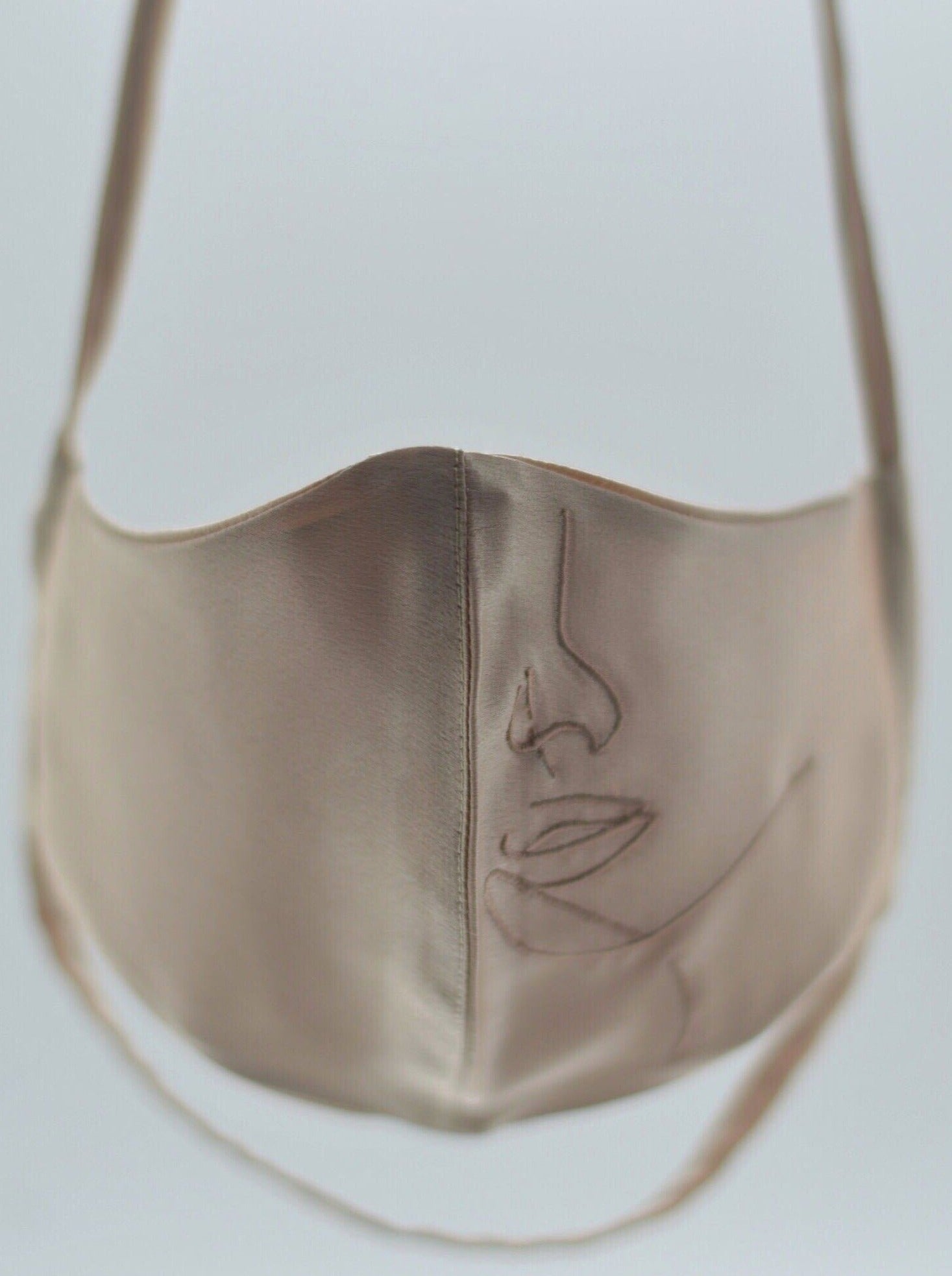Hanya Embroidered Face Mask with String Extension in Nude