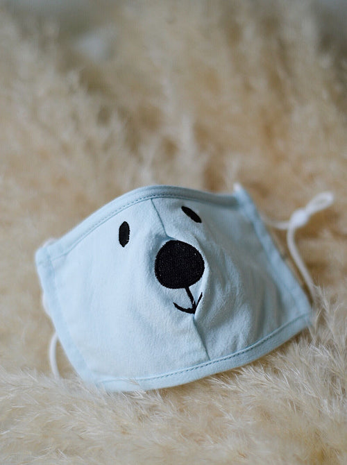 Hanya Kids Embroidered Bear Face Mask in Blue