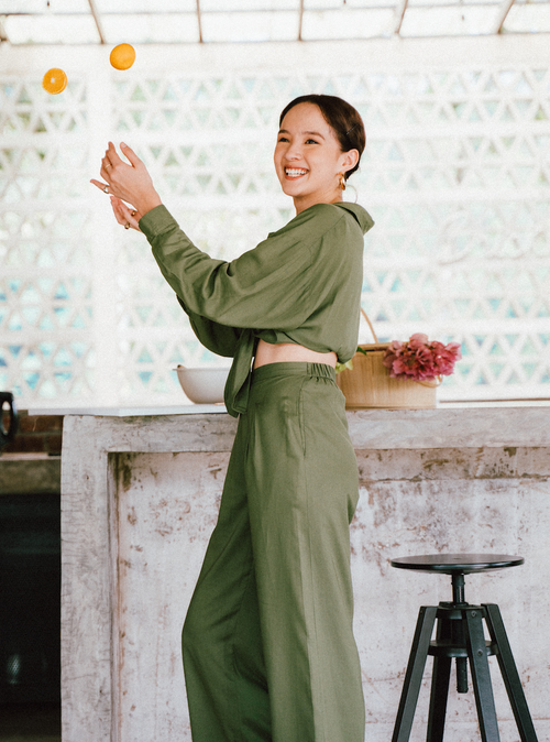 Luna Linen Long Pants in Olive