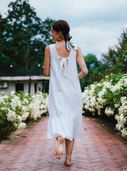 Leah Dress in White Linen