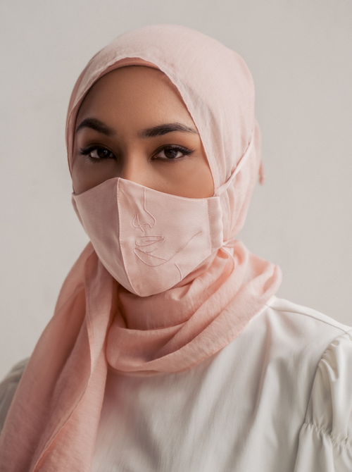 4-ply: Hanya Embroidered Face Mask with String Extension in Rose Gold
