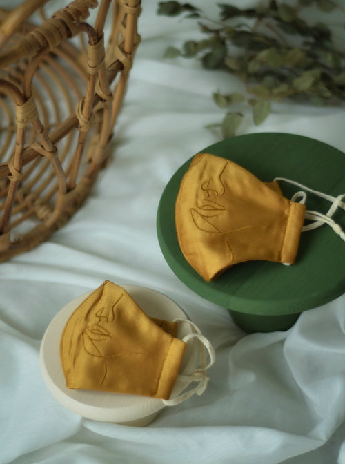 Mummy and Me Set: 4-Ply Face Mask with Ear Loop in Mustard