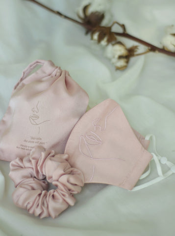 4-ply: Hanya Embroidered Face Mask with Ear Loop in Nude