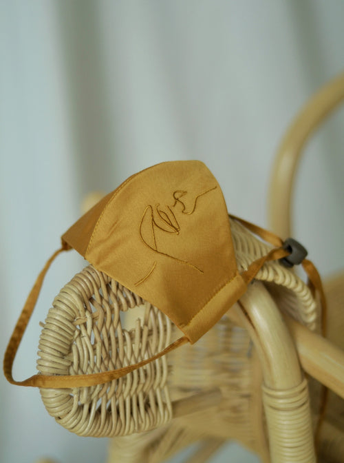 Mummy and Me Set: 4-Ply Face Mask with String Extension in Mustard