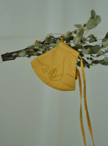4-Ply Face Mask with Ear Loop in Mustard