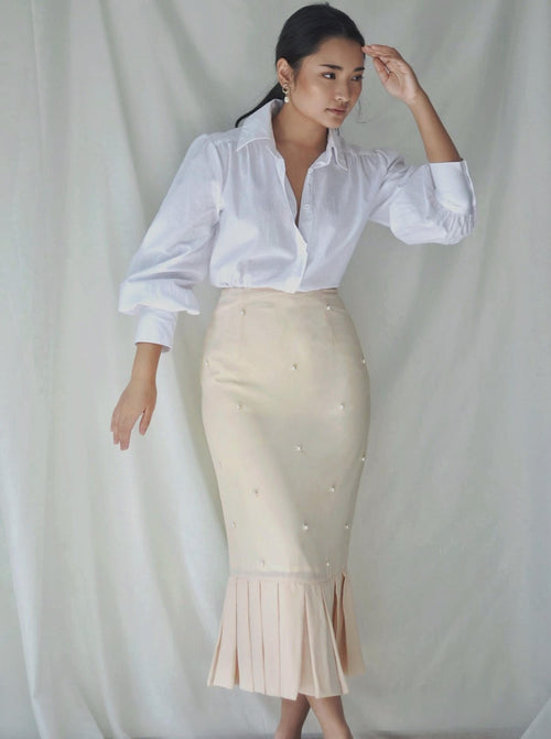 Alaia Pearl Skirt in Soft Peach