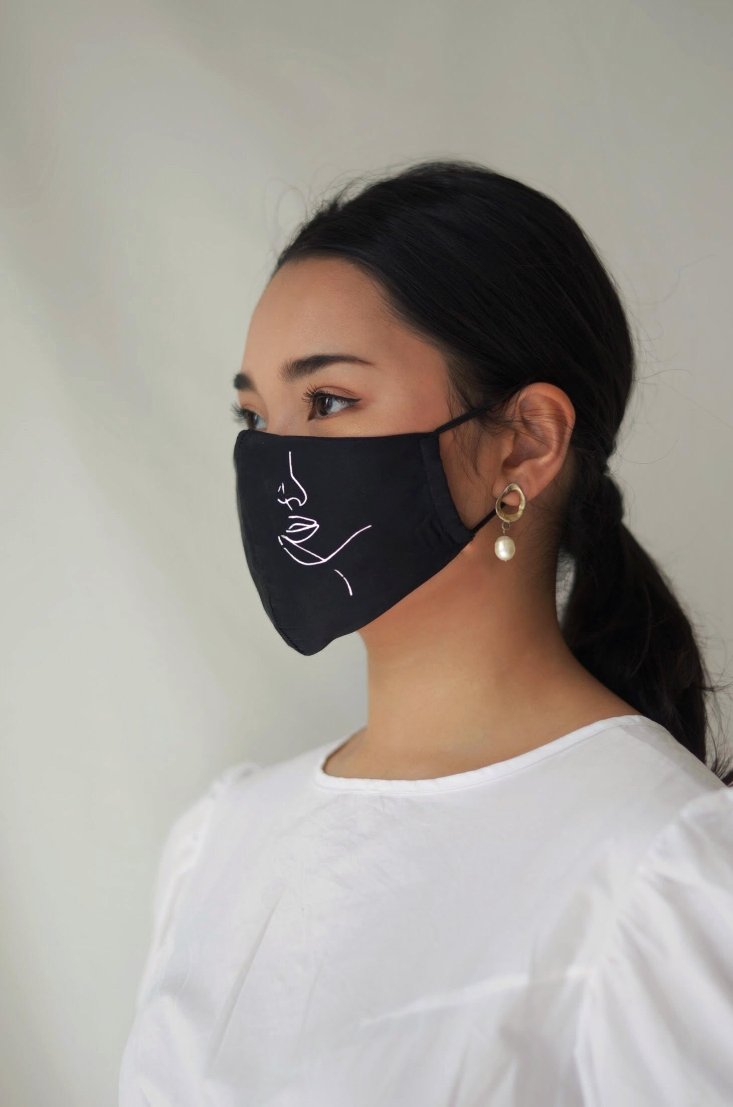 Hanya Embroidered Face Mask with Ear Loops in Champagne